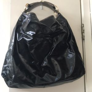 Gucci horsebit shoulder bag patent leather